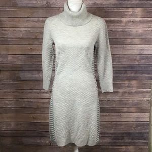 Athleta Grey Ribbed 3/4Sleeve WoolTurtleneck Dress